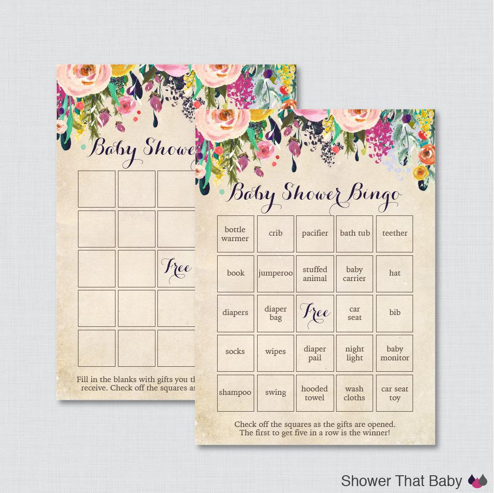 floral baby shower bingo cards printable blank bingo cards. Black Bedroom Furniture Sets. Home Design Ideas