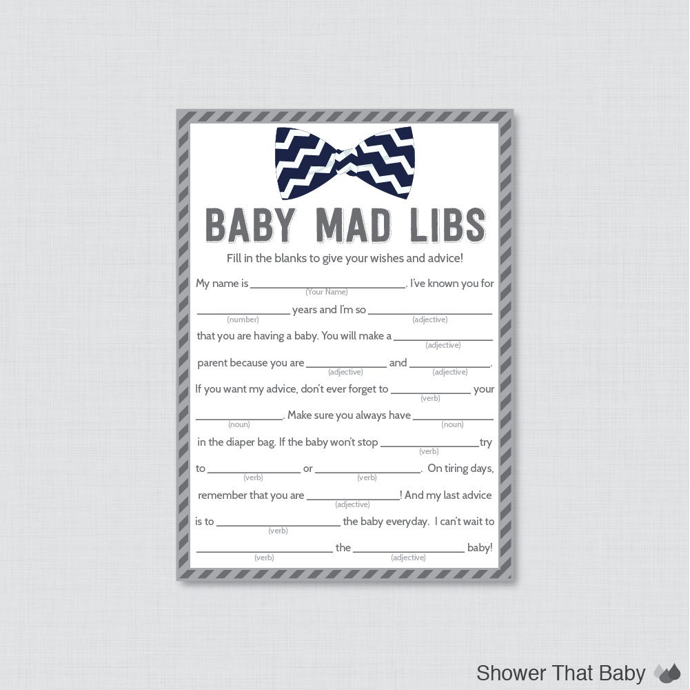 Bow Tie Baby Shower Mad Libs Printable Baby Shower Advice