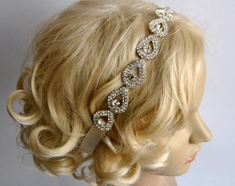 Glamor Crystal Teardrop Rhinestone Tie on Headband headpiece, teardrop Headband, Wedding ribbon headband, Bridal rhinestone head piece, prom