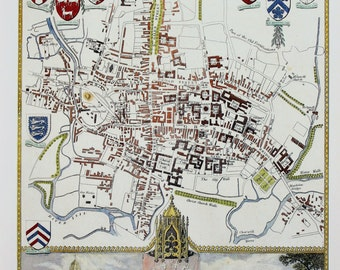 Vintage Map, Oxford, Thomas Moule County Map of Old England.