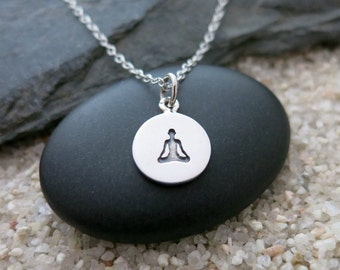 Yoga Necklace, Sitting Yoga Pose Necklace, Sterling Silver Yoga Charm, Yoga Jewelry
