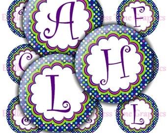Alphabet Bottle Cap Images ~*DIGITAL*~ Colorful Polka Dots Background: Full Alphabet ~*Digital Collage Sheet*~ 1 Inch Printable Circles 187