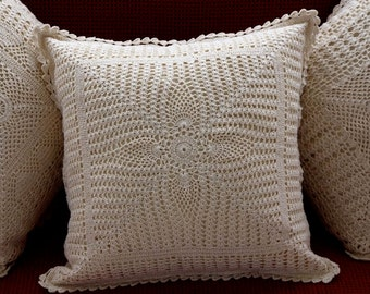 Set of 2 CUSHION COVERS - Handmade crochet cushion with Pure Cotton, Throw Pillow, Pillow Cover, Decorative Pillow -  PineEye Vintage Design