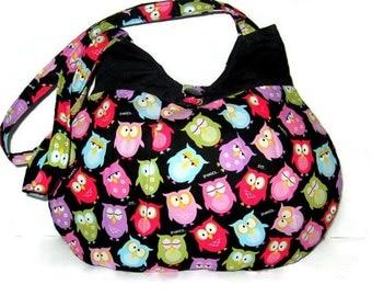 WOMEN'S PURSES, Handbags, Hobo Bags, Purses With Owls, Handbags With Owls, Colorful Owl Purse, Made To Order