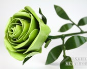 Metal Long Stem Green Rose, Christmas, Long Stem Rose, Green Flower, Forever Rose, Large Rose, Lifesize Rose, Life Size Rose