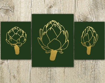 dark green kitchen wall art artichoke printable modern gold kitchen wall decor vegetable print set of 3 digital prints instant download jpg