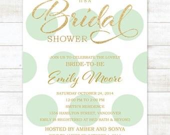 mint gold bridal shower invitation mint gold glitter polka dots printable shower digital invite customizable