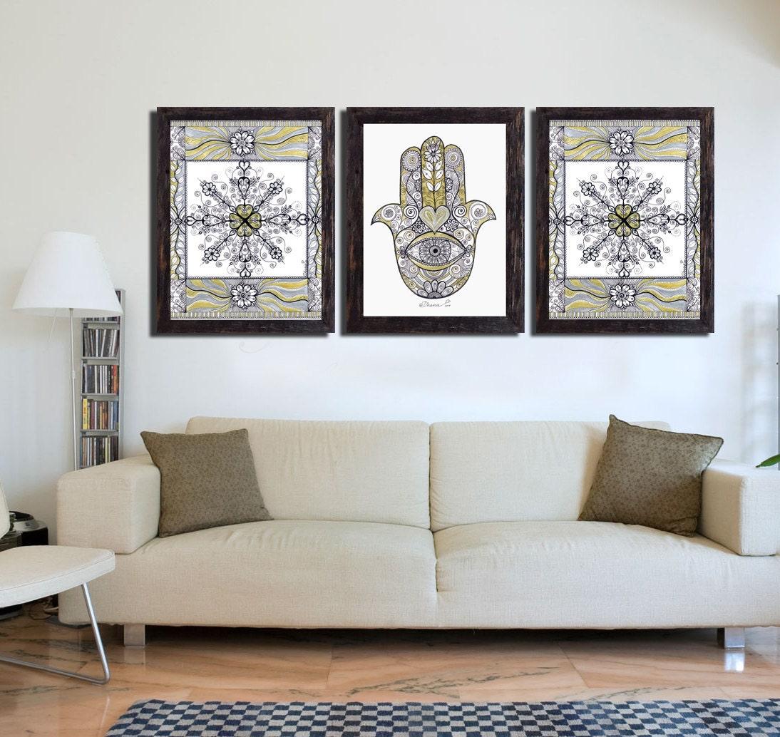 golden silver hamsa hand wall decor digital art print 3. Black Bedroom Furniture Sets. Home Design Ideas