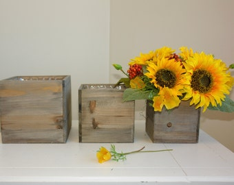 wood vases wood boxes, square sunflowers reception centerpieces planter rustic chic wedding birch bark  wood boxes