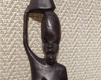 Hand Carved African Woman Statue - 2