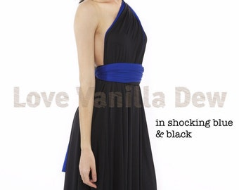 Bridesmaid Dress Infinity Dress Gem Black Shocking Blue Reversible Wrap Convertible Dress Wedding Dress