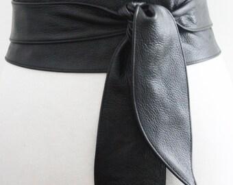 Black Belt,  Black Leather Obi Belt tulip tie, Black Leather belt | Real Leather Belt| Handmade Belt | Plus size belts, Wrap belt