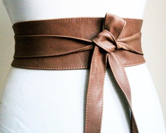 leather obi distressed brown belt western belt by loveyaayaa