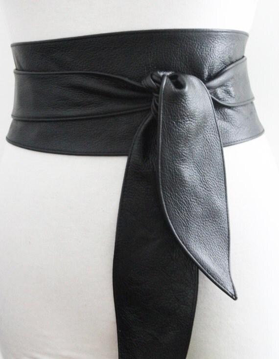 black belt black leather obi belt tulip tie black by