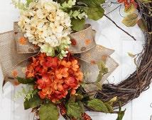 Grapevine Beige and Orange Hydrangea with Burnt Orange Berry Wreath.Year Round Wreath.Summer Wreath.Spring Wreath.Fall Wreath.Mothers Day