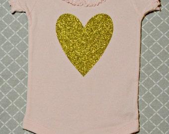 Sweet Heart Pink Bodysuit/ Gold Glitter