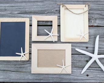 CHOOSE YOUR STYLE: Painted Starfish Frames - Beach Destination Wedding - Bridesmaid Gift - Nursery Decor - Wedding Favors - Chalkboard