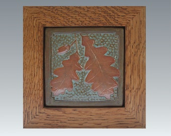 "Framed 6"" Oak leaf & Acorn tile Arts and Crafts framed tile/ Wall Art/decor/ Wedding  or Housewarming Gift"