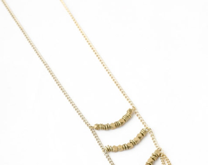 Golden Tribal Style Necklace on Long Gold Chain