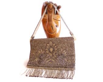 Antique french micro beaded  purse. Roaring twenties. Party handbag.