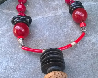 Black and Red Necklace Set with Centerpiece