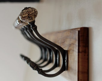 Exceptional Oak Coat Hooks/Coat Rack With Antique Iron U0026 Porcelain/Ceramic Coat Hooks.