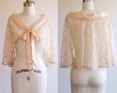 Lace shawl- Wedding shawl-Peach shawl-Lace wrap-Wedding wrap-Peach wrap- Lace bolero-Wedding bolero-1940s wrap-Vintage lace