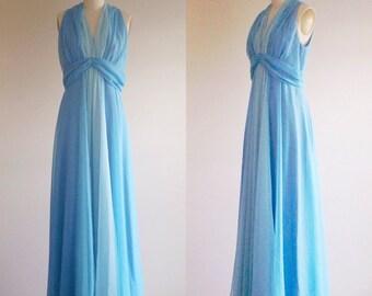 Blue dress- Formal gown- Blue bridesmaid- Blue prom dress- 60s evening dress- Spring wedding- Something blue- 1960s dresss- Small/ Medium