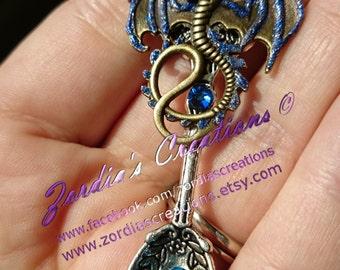 Dragon Pendant, Silver Spoon, Antique Silver Spoon pendant, Silver Spoon necklace, Dragon Necklace, Guardian Dragon Pendant