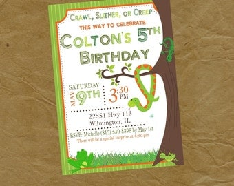 Reptiles and Bugs Birthday Party Invitation Frog Snake Grasshopper Cricket Lizard - Digital or Printed
