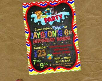 BOYS Swimming Birthday Party Invitation  -Digital or Printed