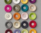 Venice® Swarovski button. Covered button available with silk or velvet with Swarovski centre