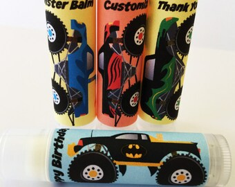 5 Pc Monster Truck Birthday Party Lip Balm Favors/Custom Party Favors/Boy Birthday/Boy Birthday Favors/Monster Truck Party/Lip Balm