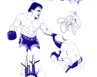 Rocky Balboa Drawing Blue Pen Art American Boxer Sylvester Stallone Retro American Sports Drama Film American Flag Blue Red Fighter Fight