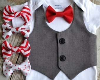 Baby Boy Clothes, Valentines Bow Tie Vest, Boys Valentine's Day Outfit Red Bowtie, 9 Tie Options Coming Home, Cake Smash Ring Bearer Wedding