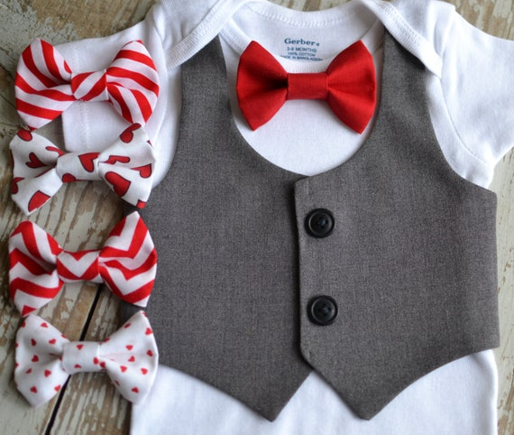 Baby Boy Clothes Valentines Bow Tie Vest Boys