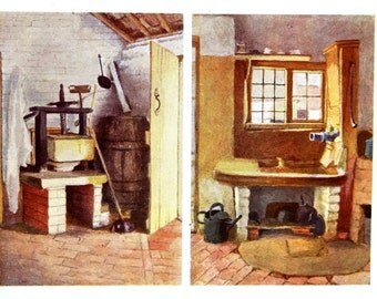 Kate Greenaway - 1905 - Antique KITCHEN PUMP - CHEESE Press at Rolleston - Professionally Matted Childrens Antique Art Print Ready to Frame
