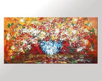 Original Art Oil Painting Flower Oil Painting Canvas Art Canvas Painting Abstract Canvas Art Impasto Art Large Wall Art Palette Knife Art