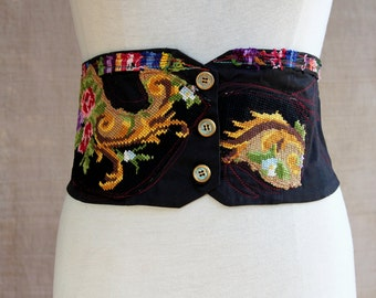 Bohemian corset belt embroidered with bright colors and ethnic