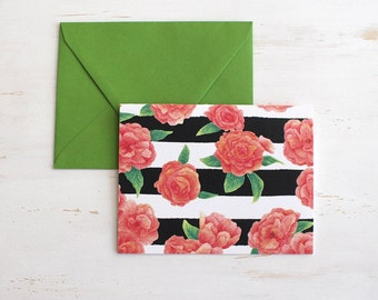 Stripes N Roses Folded Note Card and Envelope
