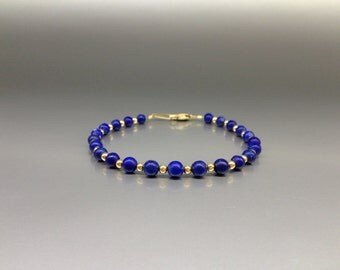 Lapis Lazuli bead bracelet with tiny 14K gold plated beads - gift idea - polished AAA Grade afghan Lapis beads - blue and gold combination