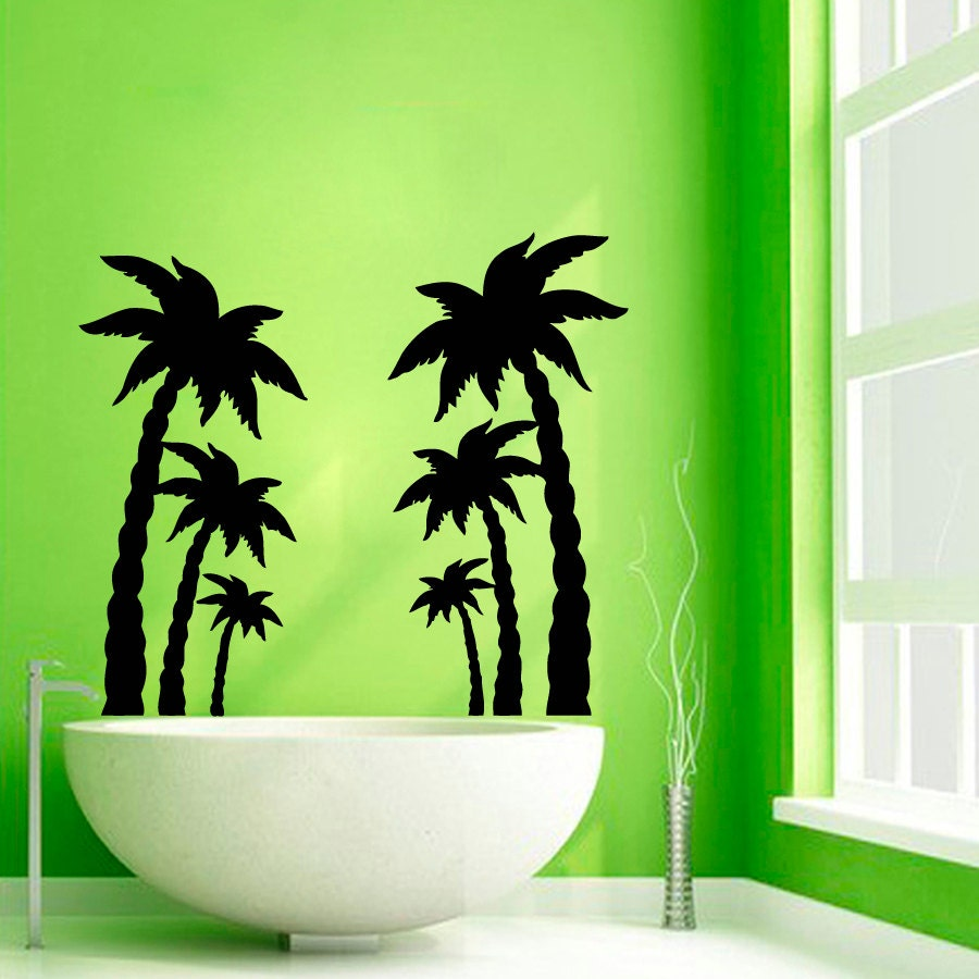 palm tree wall decals beach trees bath palms vinyl sticker. Black Bedroom Furniture Sets. Home Design Ideas