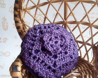 Hand crocheted cotton cushion, lined with velvet, purple color combination, for dolls