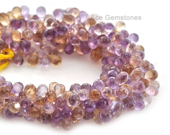 Ametrine Drop Briolette Beads Semiprecious Gemstone Beads A+ Grade, 6x9mm, Half Strand 4 inches, Beads Supplies