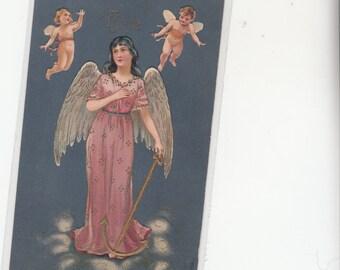 """Angel """"HOPE"""" Antique  Postcard-Cherubs-Embossed-Gold Trim-Flowing  Dress-Unused"""