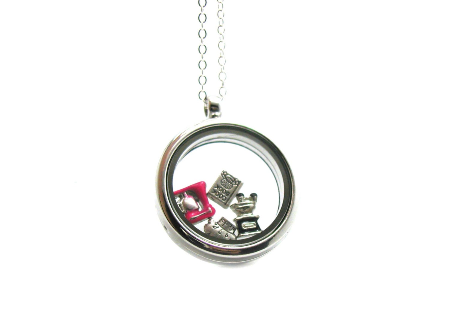 floating charm locket necklace memory locket floating charm