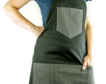 Men's Black BBQ Apron with Pinstripe Accents (Full)
