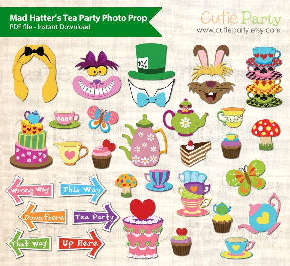Mad hatter 39 s tea party photo booth prop alice in for Mad hatter party props