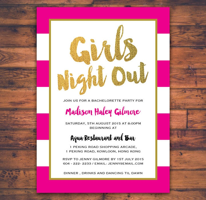 Bachelorette Party Girls Night Out Invitation Card Hen Party – Hen Party Invitation Ideas