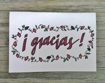 Thank You Cards Set, Spanish Gracias Thank You Cards, Wedding Thank ...